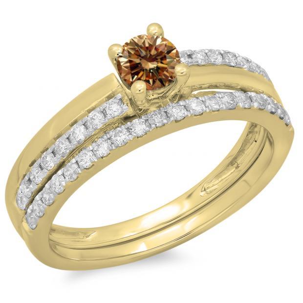 0.75 Carat (ctw) 14K Yellow Gold Round Cut Champagne & White Diamond Ladies Bridal Engagement Ring With Matching Band Set 3/4 CT
