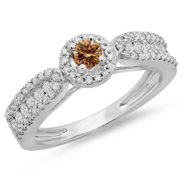 0.80 Carat (ctw) 14K White Gold Round Cut White & Champagne Diamond Ladies Bridal Vintage Halo Style Engagement Ring 3/4 CT