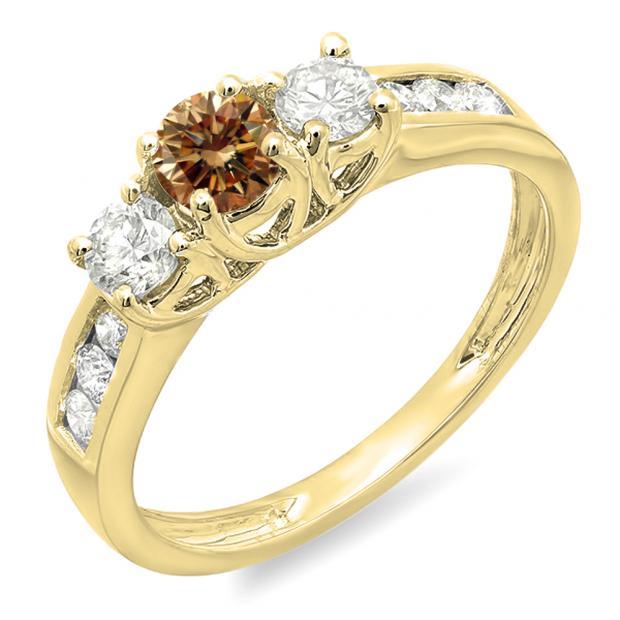 0.90 Carat (ctw) 10K Yellow Gold Round Cut Champagne & White Diamond Ladies 3 Stone Engagement Bridal Ring