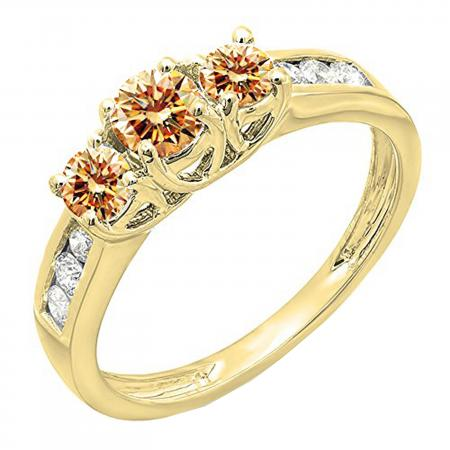 0.90 Carat (ctw) 10K Yellow Gold Round Cut Champagne & White Diamond Ladies 3 Stone Engagement Bridal Ring