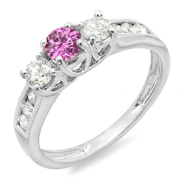 0.90 Carat (ctw) 10K White Gold Round Cut Pink Sapphire & White Diamond Ladies 3 Stone Engagement Bridal Ring