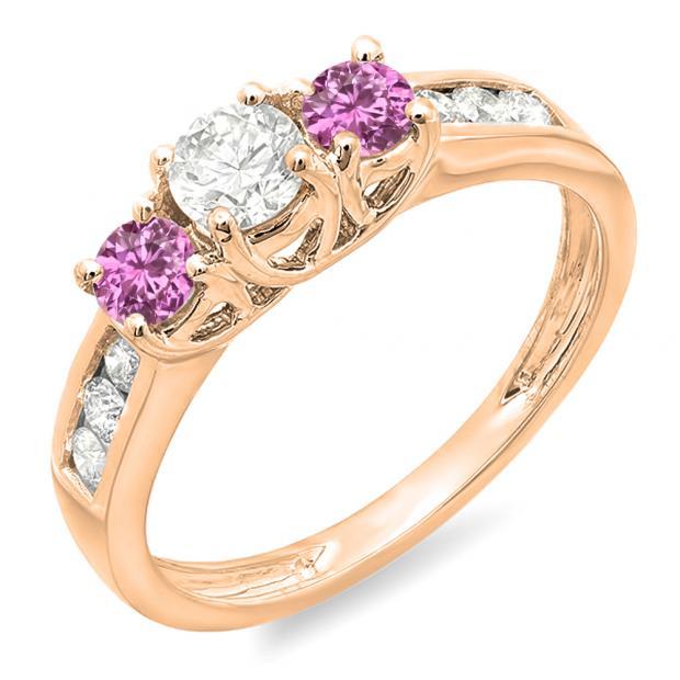 0.90 Carat (ctw) 18K Rose Gold Round Cut Pink Sapphire & White Diamond Ladies 3 Stone Engagement Bridal Ring