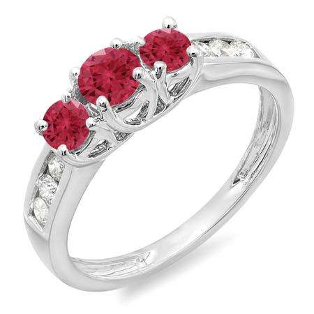 0.90 Carat (ctw) 14K White Gold Round Cut Red Ruby & White Diamond Ladies 3 Stone Engagement Bridal Ring