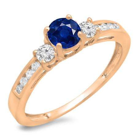 0.75 Carat (ctw) 10K Rose Gold Round Cut Blue Sapphire & White Diamond Ladies Bridal 3 Stone Engagement Ring 3/4 CT
