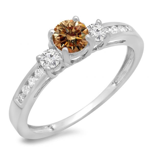 0.75 Carat (ctw) 10K White Gold Round Cut Champagne & White Diamond Ladies Bridal 3 Stone Engagement Ring 3/4 CT