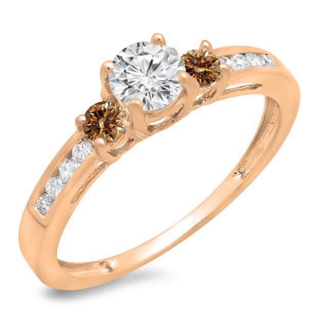 0.75 Carat (ctw) 18K Rose Gold Round Cut Champagne & White Diamond Ladies Bridal 3 Stone Engagement Ring 3/4 CT