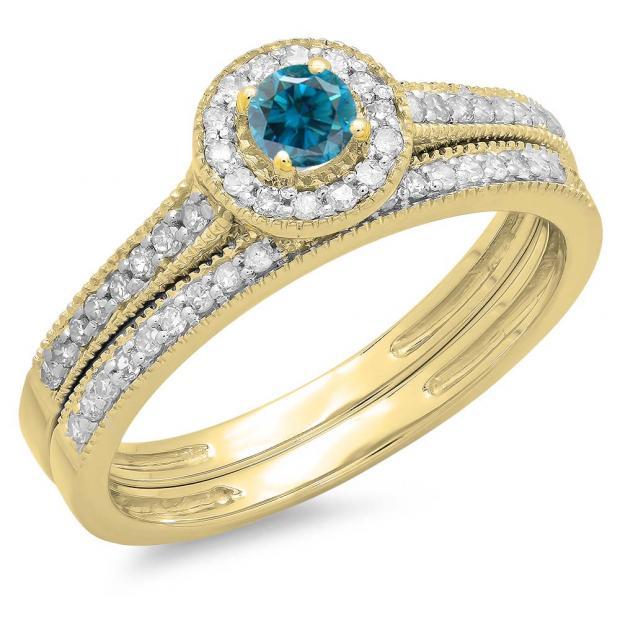 0.50 Carat (ctw) 10K Yellow Gold Round Blue & White Diamond Ladies Halo Style Bridal Engagement Ring With Matching Band Set 1/2 CT