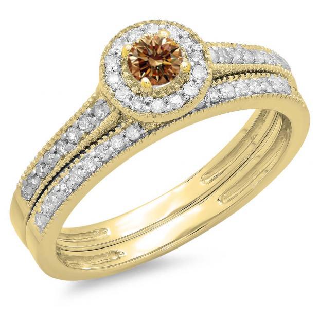 0.50 Carat (ctw) 10K Yellow Gold Round Champagne & White Diamond Ladies Halo Style Bridal Engagement Ring With Matching Band Set 1/2 CT
