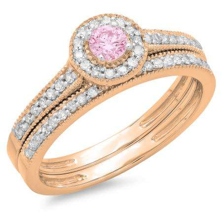 0.50 Carat (ctw) 10K Rose Gold Round Pink Sapphire & White Diamond Ladies Halo Style Bridal Engagement Ring With Matching Band Set 1/2 CT