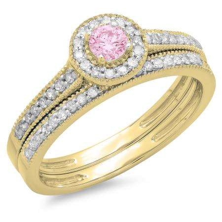 0.50 Carat (ctw) 10K Yellow Gold Round Pink Sapphire & White Diamond Ladies Halo Style Bridal Engagement Ring With Matching Band Set 1/2 CT