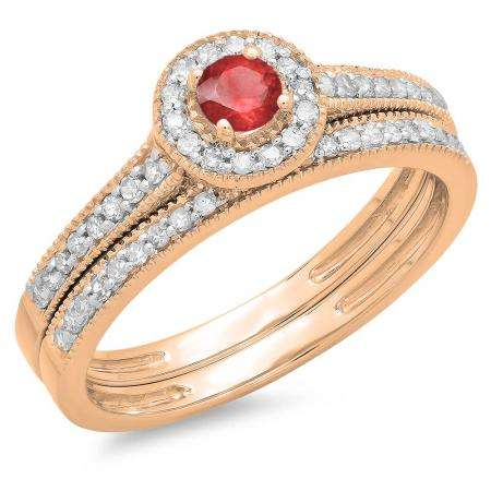 0.50 Carat (ctw) 10K Rose Gold Round Red Ruby & White Diamond Ladies Halo Style Bridal Engagement Ring With Matching Band Set 1/2 CT