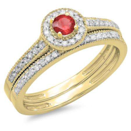 0.50 Carat (ctw) 10K Yellow Gold Round Red Ruby & White Diamond Ladies Halo Style Bridal Engagement Ring With Matching Band Set 1/2 CT