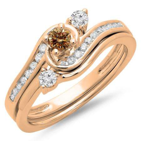 0.50 Carat (ctw) 10K Rose Gold Round Champagne & White Diamond Ladies Bridal Twisted Swirl Engagement Ring With Matching Band Set 1/2 CT