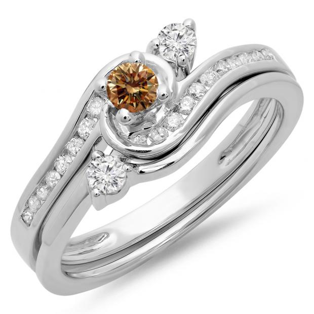 0.50 Carat (ctw) 10K White Gold Round Champagne & White Diamond Ladies Bridal Twisted Swirl Engagement Ring With Matching Band Set 1/2 CT