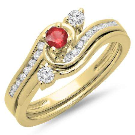 0.50 Carat (ctw) 10K Yellow Gold Round Red Ruby & White Diamond Ladies Bridal Twisted Swirl Engagement Ring With Matching Band Set 1/2 CT