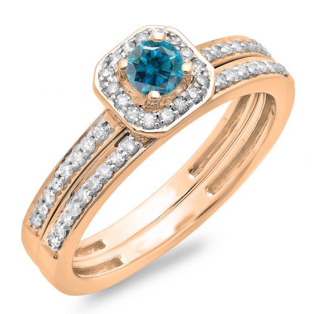 0.55 Carat (ctw) 10K Rose Gold Round Cut Blue & White Diamond Ladies Halo Engagement Bridal Ring With Matching Band Set 1/2 CT