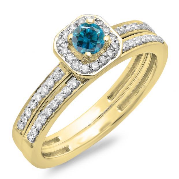 0.55 Carat (ctw) 10K Yellow Gold Round Cut Blue & White Diamond Ladies Halo Engagement Bridal Ring With Matching Band Set 1/2 CT