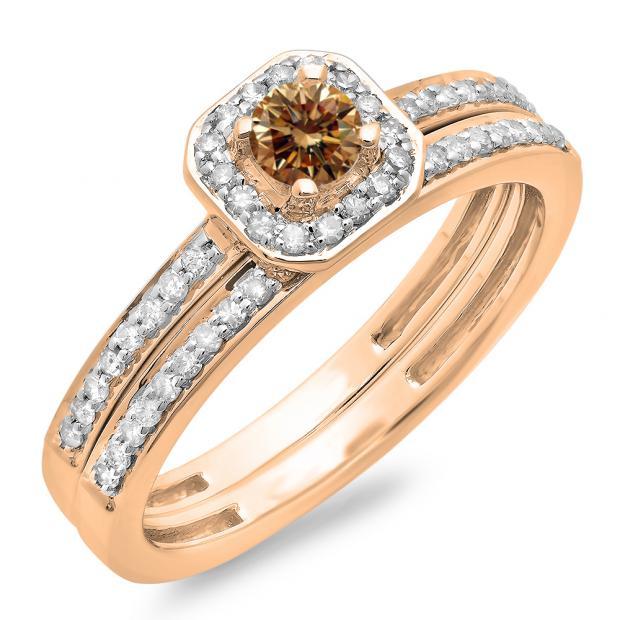 0.55 Carat (ctw) 10K Rose Gold Round Cut Champagne & White Diamond Ladies Halo Engagement Bridal Ring With Matching Band Set 1/2 CT