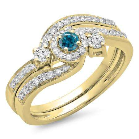 0.65 Carat (ctw) 10K Yellow Gold Round Blue & White Diamond Ladies Twisted Swirl Bridal Halo Engagement Ring With Matching Band Set