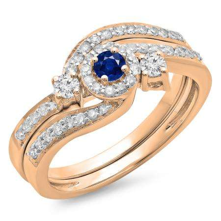 0.65 Carat (ctw) 10K Rose Gold Round Blue Sapphire & White Diamond Ladies Twisted Swirl Bridal Halo Engagement Ring With Matching Band Set