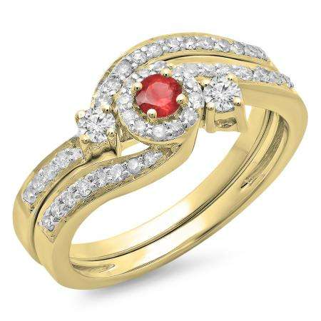 0.65 Carat (ctw) 10K Yellow Gold Round Red Ruby & White Diamond Ladies Twisted Swirl Bridal Halo Engagement Ring With Matching Band Set