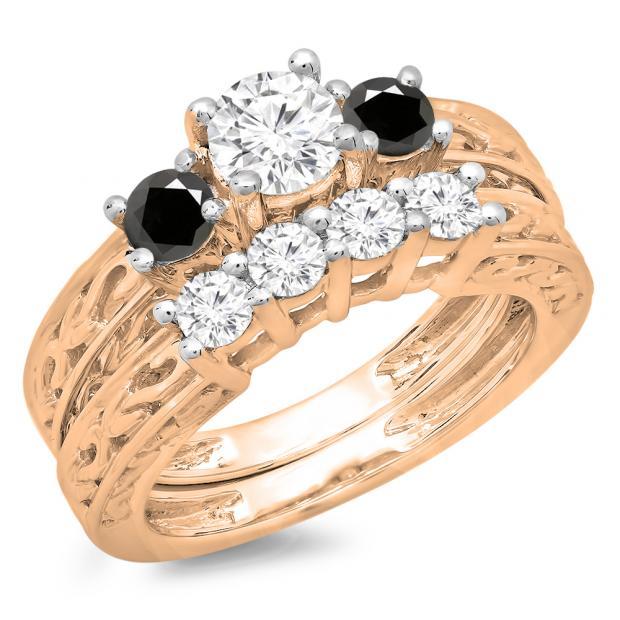 1.50 Carat (ctw) 10K Rose Gold Round Cut Black & White Diamond Ladies Vintage 3 Stone Bridal Engagement Ring With Matching 4 Stone Wedding Band Set 1 1/2 CT