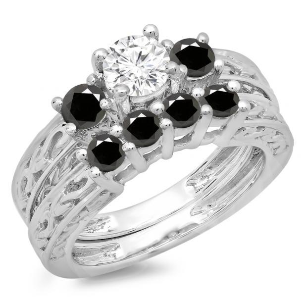 1.50 Carat (ctw) 18K White Gold Round Cut Black & White Diamond Ladies Vintage 3 Stone Bridal Engagement Ring With Matching 4 Stone Wedding Band Set 1 1/2 CT