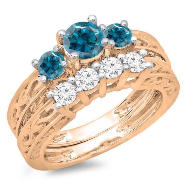 1.50 Carat (ctw) 14K Rose Gold Round Cut Blue & White Diamond Ladies Vintage 3 Stone Bridal Engagement Ring With Matching 4 Stone Wedding Band Set 1 1/2 CT