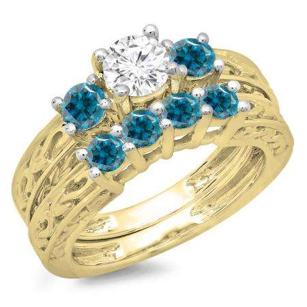 1.50 Carat (ctw) 14K Yellow Gold Round Cut Blue & White Diamond Ladies Vintage 3 Stone Bridal Engagement Ring With Matching 4 Stone Wedding Band Set 1 1/2 CT