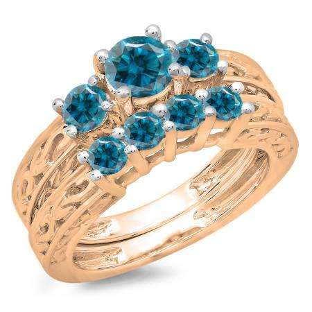 1.50 Carat (ctw) 10K Rose Gold Round Cut Blue Diamond Ladies Vintage 3 Stone Bridal Engagement Ring With Matching 4 Stone Wedding Band Set 1 1/2 CT