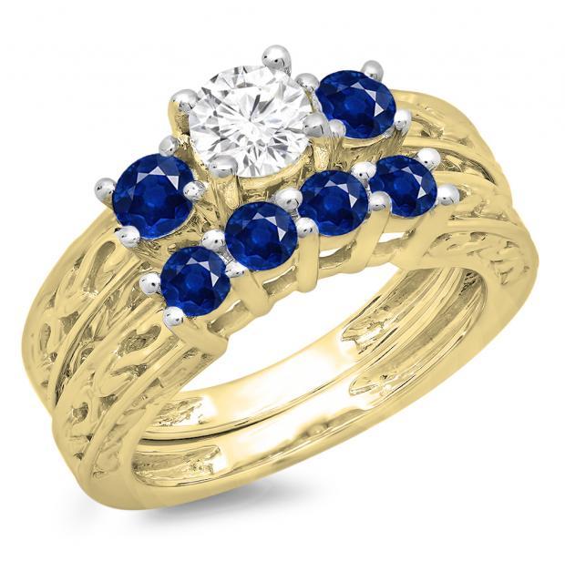 1.50 Carat (ctw) 14K Yellow Gold Round Cut Blue Sapphire & White Diamond Ladies Vintage 3 Stone Bridal Engagement Ring With Matching 4 Stone Wedding Band Set 1 1/2 CT
