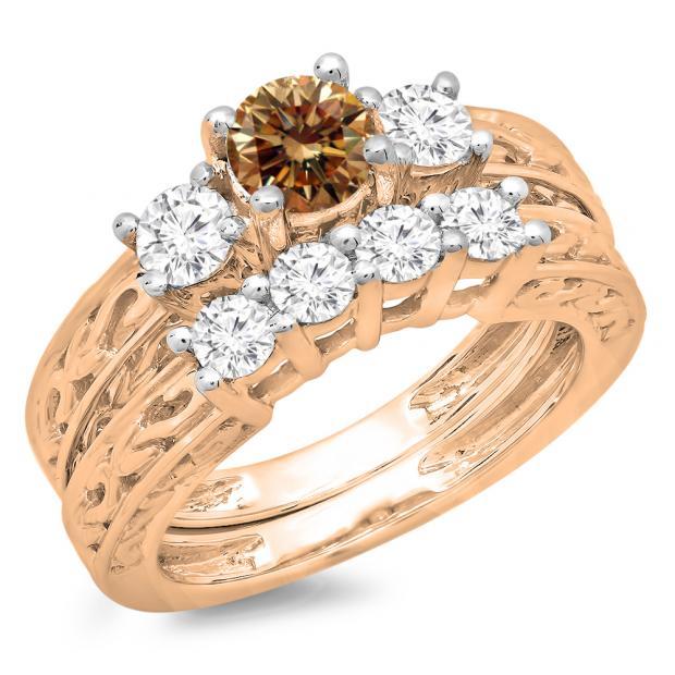 1.50 Carat (ctw) 10K Rose Gold Round Cut Champagne & White Diamond Ladies Vintage 3 Stone Bridal Engagement Ring With Matching 4 Stone Wedding Band Set 1 1/2 CT