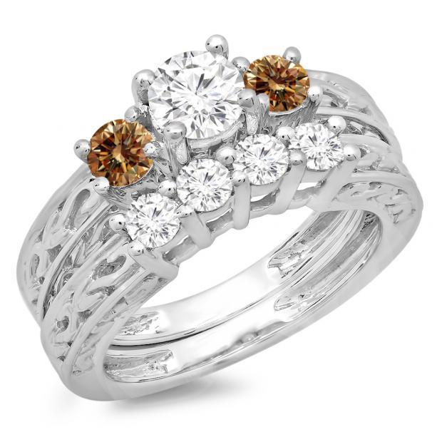 1.50 Carat (ctw) 14K White Gold Round Cut Champagne & White Diamond Ladies Vintage 3 Stone Bridal Engagement Ring With Matching 4 Stone Wedding Band Set 1 1/2 CT