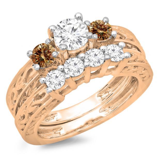1.50 Carat (ctw) 18K Rose Gold Round Cut Champagne & White Diamond Ladies Vintage 3 Stone Bridal Engagement Ring With Matching 4 Stone Wedding Band Set 1 1/2 CT