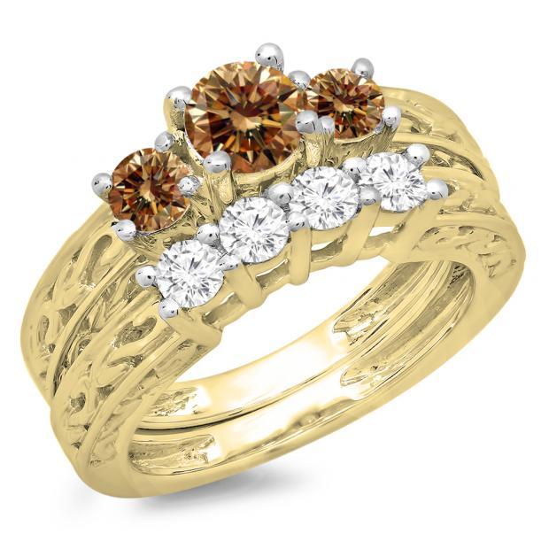 1.50 Carat (ctw) 18K Yellow Gold Round Cut Champagne & White Diamond Ladies Vintage 3 Stone Bridal Engagement Ring With Matching 4 Stone Wedding Band Set 1 1/2 CT