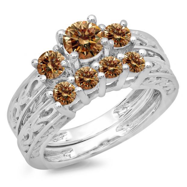 1.50 Carat (ctw) 14K White Gold Round Cut Champagne Diamond Ladies Vintage 3 Stone Bridal Engagement Ring With Matching 4 Stone Wedding Band Set 1 1/2 CT