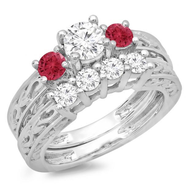1.50 Carat (ctw) 10K White Gold Round Cut Red Ruby & White Diamond Ladies Vintage 3 Stone Bridal Engagement Ring With Matching 4 Stone Wedding Band Set 1 1/2 CT