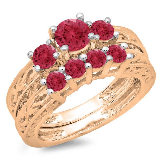 1.50 Carat (ctw) 14K Rose Gold Round Cut Red Ruby Ladies Vintage 3 Stone Bridal Engagement Ring With Matching 4 Stone Wedding Band Set 1 1/2 CT