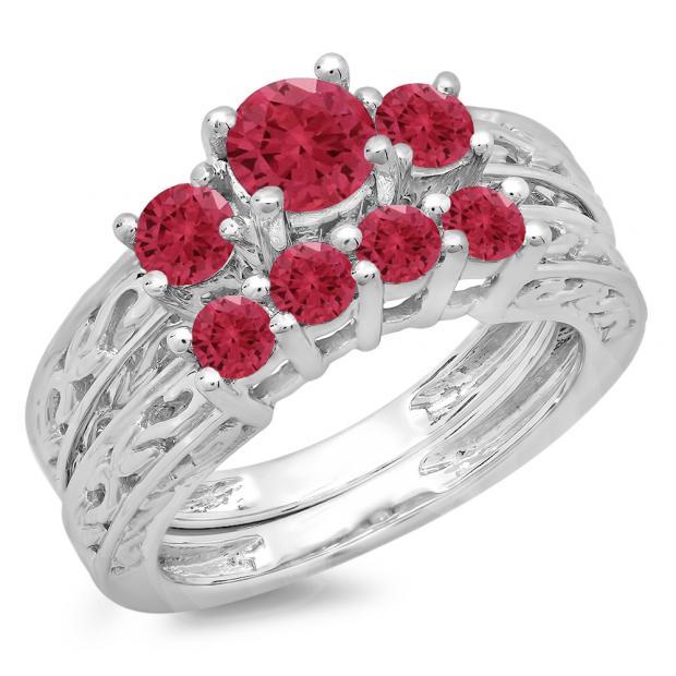 1.50 Carat (ctw) 14K White Gold Round Cut Red Ruby Ladies Vintage 3 Stone Bridal Engagement Ring With Matching 4 Stone Wedding Band Set 1 1/2 CT
