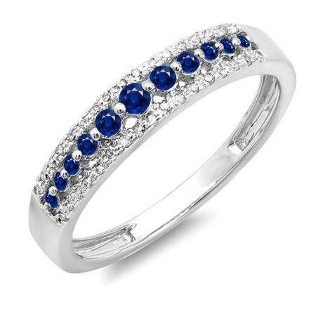 0.25 Carat (ctw) 10k White Gold Round Blue Sapphire & White Diamond Ladies Anniversary Wedding Band Ring 1/4 CT
