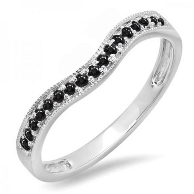 0.15 Carat (ctw) 14K White Gold Round Black Diamond Ladies Anniversary Wedding Band Guard Ring