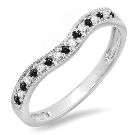 0.15 Carat (ctw) 10K White Gold Round Black & White Diamond Ladies Anniversary Wedding Band Guard Ring