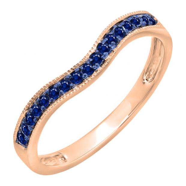 0.15 Carat (ctw) 10K Rose Gold Round Blue Sapphire Ladies Anniversary Wedding Band Guard Ring