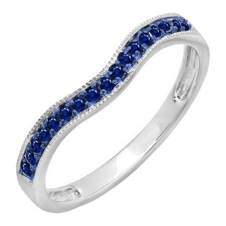 0.15 Carat (ctw) 14K White Gold Round Blue Sapphire Ladies Anniversary Wedding Band Guard Ring