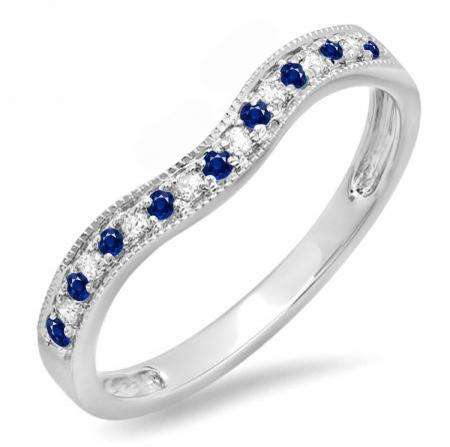 0.15 Carat (ctw) 14K White Gold Round Blue Sapphire & White Diamond Ladies Anniversary Wedding Band Guard Ring