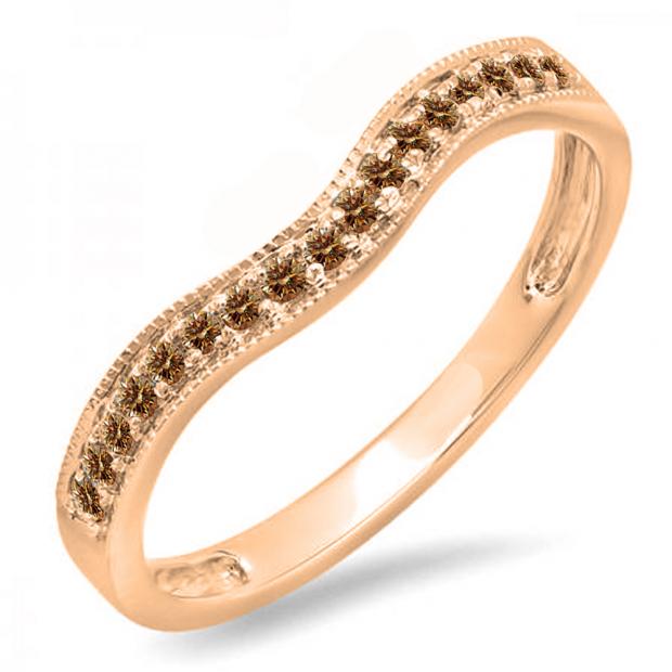 0.15 Carat (ctw) 10K Rose Gold Round Champagne Diamond Ladies Anniversary Wedding Band Guard Ring