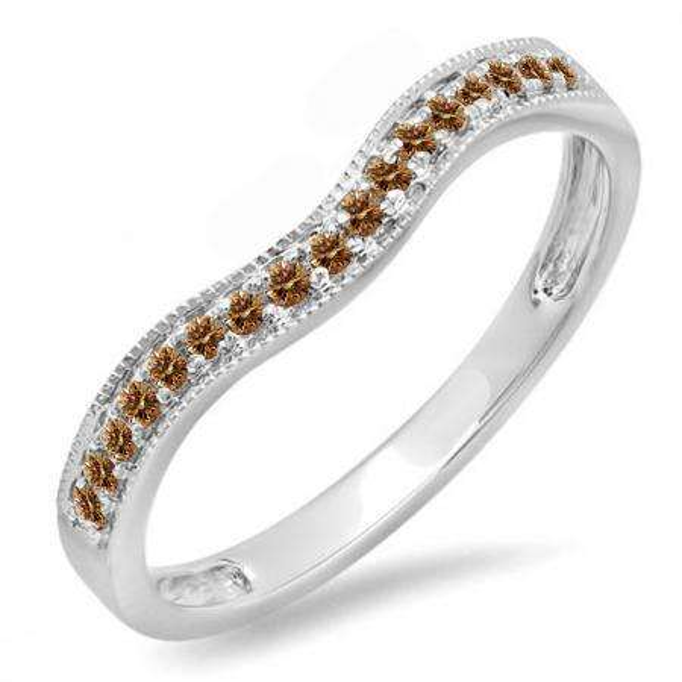0.15 Carat (ctw) 14K White Gold Round Champagne Diamond Ladies Anniversary Wedding Band Guard Ring