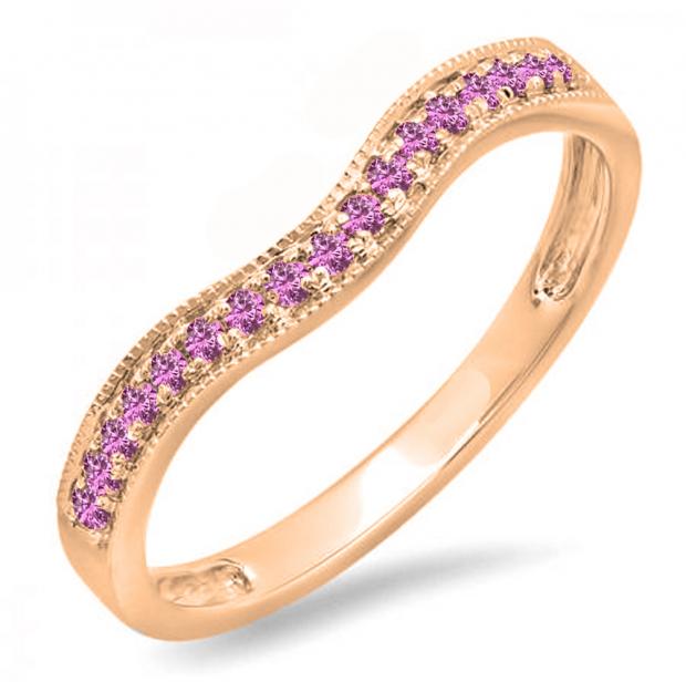 0.15 Carat (ctw) 10K Rose Gold Round Pink Sapphire Ladies Anniversary Wedding Band Guard Ring