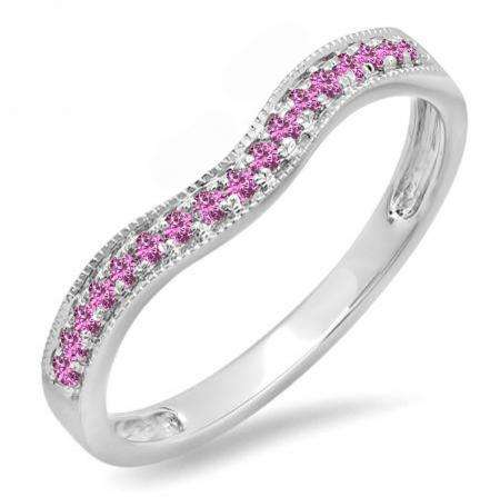 0.15 Carat (ctw) 14K White Gold Round Pink Sapphire Ladies Anniversary Wedding Band Guard Ring