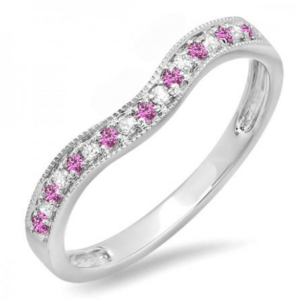0.15 Carat (ctw) 10K White Gold Round Pink Sapphire & White Diamond Ladies Anniversary Wedding Band Guard Ring
